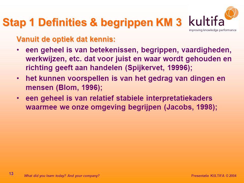 What did you learn today? And your company? Presentatie KULTIFA © 2004 13 Vanuit de optiek dat kennis: een geheel is van betekenissen, begrippen, vaar