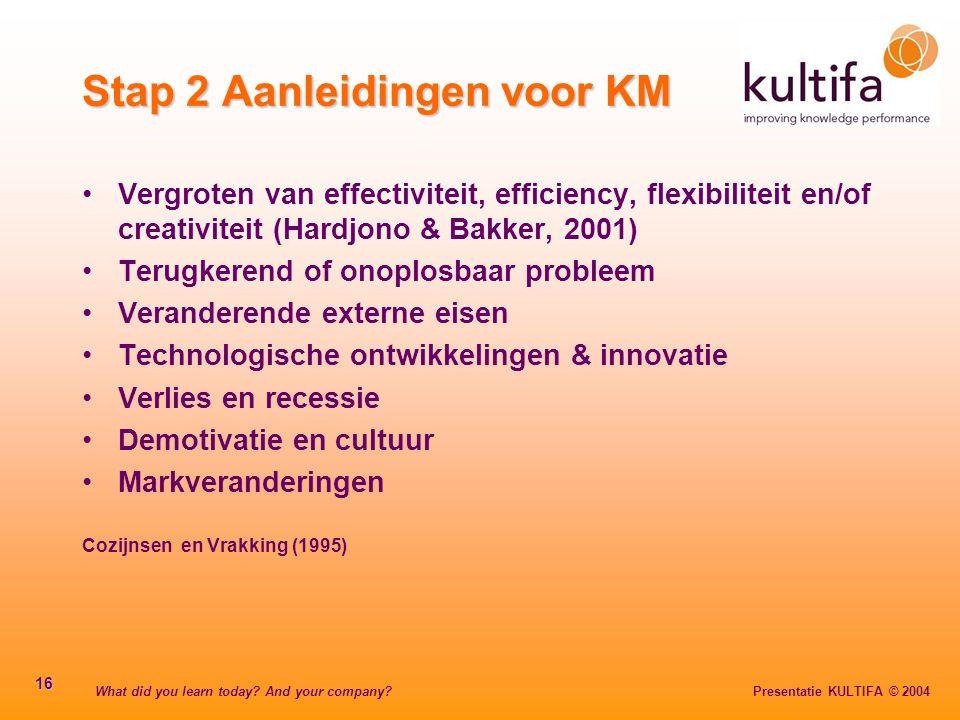 What did you learn today? And your company? Presentatie KULTIFA © 2004 16 Stap 2 Aanleidingen voor KM Vergroten van effectiviteit, efficiency, flexibi