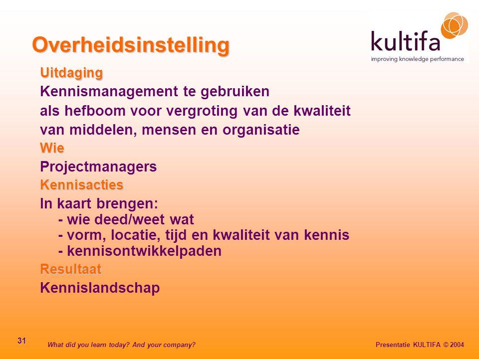 What did you learn today? And your company? Presentatie KULTIFA © 2004 31 Overheidsinstelling Uitdaging Kennismanagement te gebruiken als hefboom voor