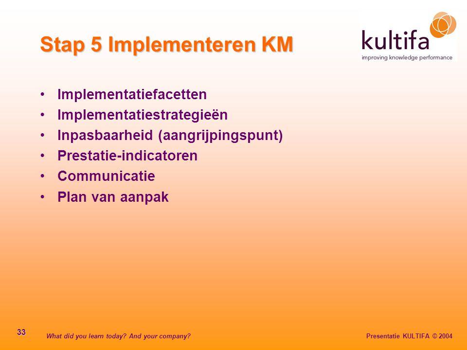 What did you learn today? And your company? Presentatie KULTIFA © 2004 33 Stap 5 Implementeren KM Implementatiefacetten Implementatiestrategieën Inpas