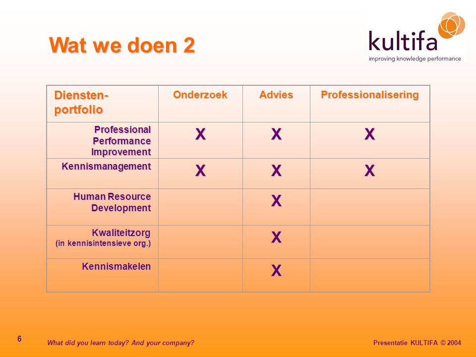 What did you learn today? And your company? Presentatie KULTIFA © 2004 6 Wat we doen 2 Diensten- portfolio OnderzoekAdviesProfessionalisering Professi