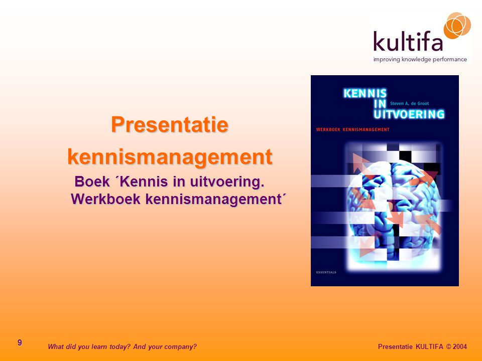 What did you learn today? And your company? Presentatie KULTIFA © 2004 20 Kennissoorten 1