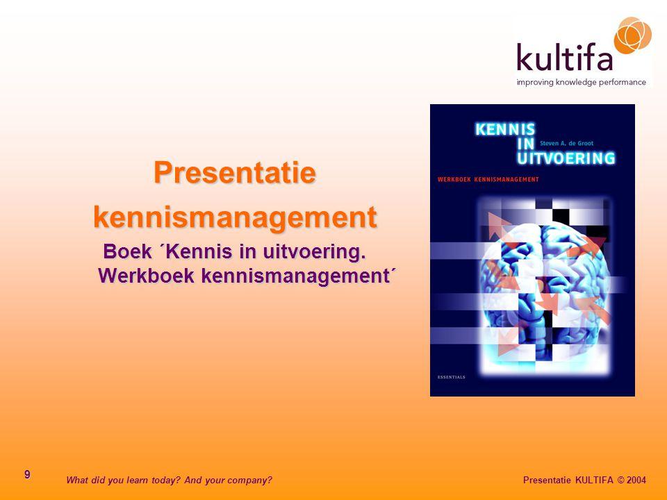 What did you learn today? And your company? Presentatie KULTIFA © 2004 9 Presentatiekennismanagement Boek ´Kennis in uitvoering. Werkboek kennismanage