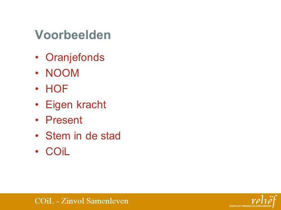 Voorbeelden Oranjefonds NOOM HOF Eigen kracht Present Stem in de stad COiL COiL - Zinvol Samenleven