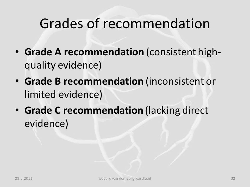 Grades of recommendation Grade A recommendation (consistent high- quality evidence) Grade B recommendation (inconsistent or limited evidence) Grade C recommendation (lacking direct evidence) 23-5-201132Eduard van den Berg, cardio.nl