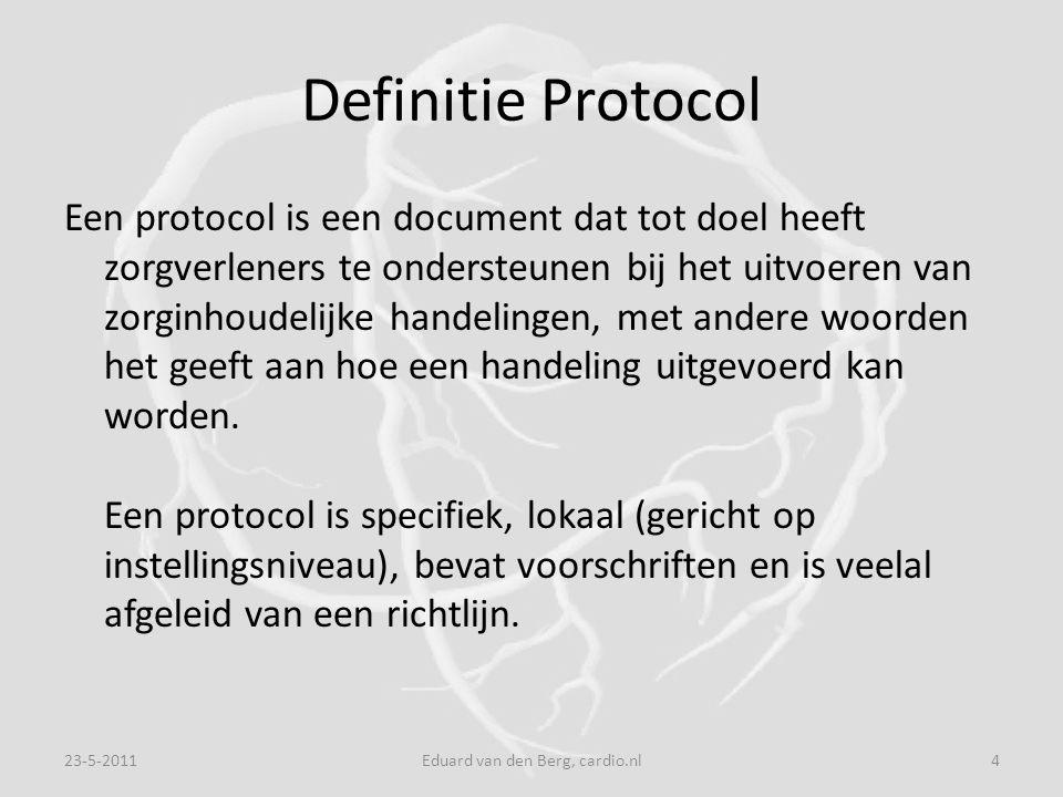 Definitie Protocol Een protocol is een document dat tot doel heeft zorgverleners te ondersteunen bij het uitvoeren van zorginhoudelijke handelingen, met andere woorden het geeft aan hoe een handeling uitgevoerd kan worden.