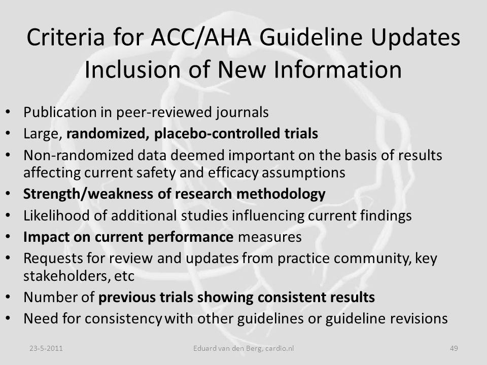 Criteria for ACC/AHA Guideline Updates Inclusion of New Information Publication in peer-reviewed journals Large, randomized, placebo-controlled trials