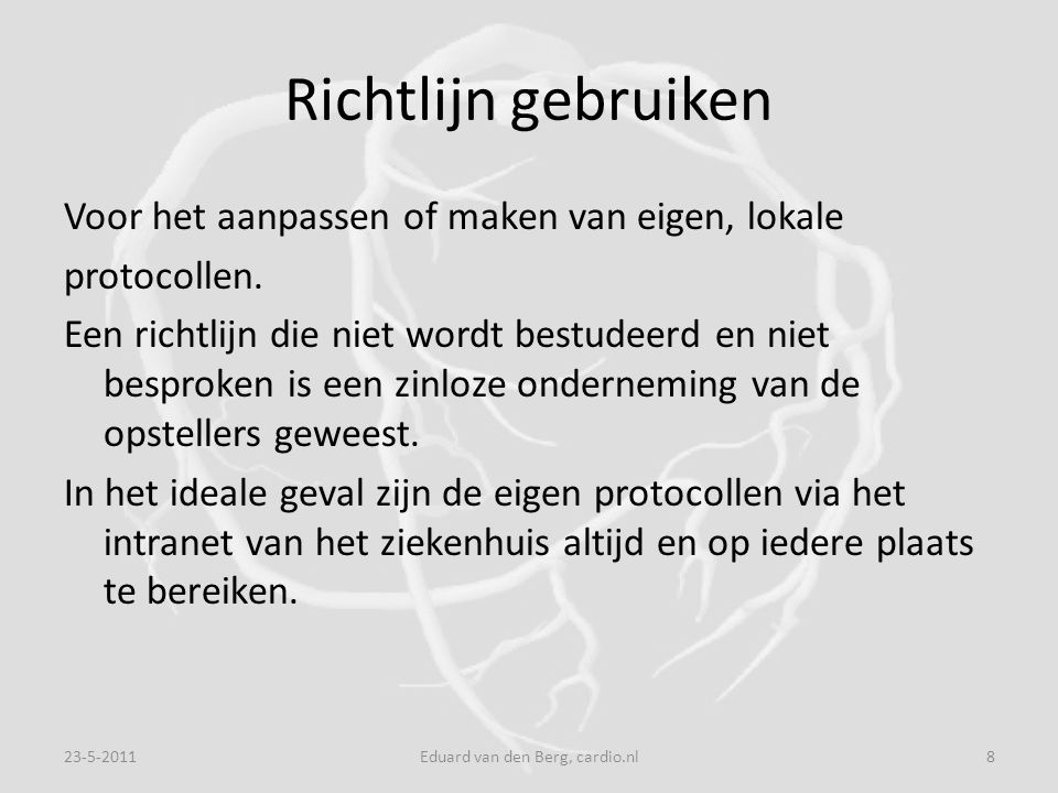 Chest level II evidence Level II Randomized trials with highfalse- negative(alfa) errors and or highfalse- positive (beta) errors (low power) 23-5-201119Eduard van den Berg, cardio.nl