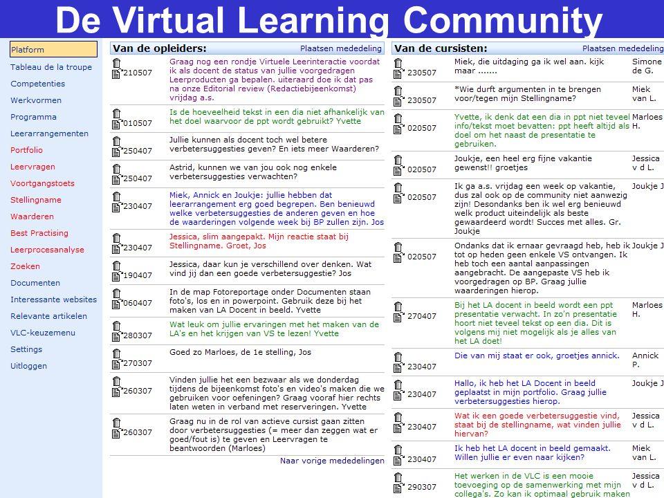 15 Opschaling VLC + Integratie met andere tools + Verbinding met vakspecifieke inhoud + Koppelen leermateriaal van studenten + Ander doelgroepen (sluimerend potentieel) = Verrijkte VLC qua en inhoud ter beschikking stellen aan leraren-opleidingen + Community of Practice open stellen + Onderwijsplaza: meeleren van andere scholen