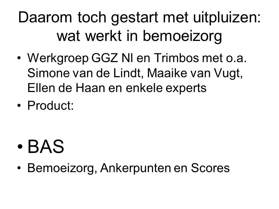 BAS Lijst met 52 items (ankerpunten) Per item 5 scores Te gebruiken door externe auditors Of als zelfscorelijst Geeft inzicht aan team of men bemoeizorg optimaal aanbiedt, Biedt feedback naar organiserende instanties en naar financiers