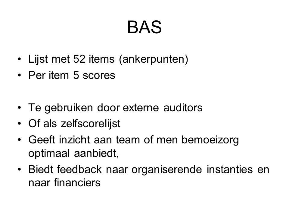 BAS Is ontwikkeld nav andere schema's –DACTs (ACT), FACTs (FACT-team) en IPC (Roeg, 2007) Is uitgeprobeerd in twee rondes Extra ingewikkeld doordat bemoeizorg in verschillende teams (ACT, Vangnet, FACT, OGGZ) kan worden gedaan en vaak in samenwerkingsconstructies