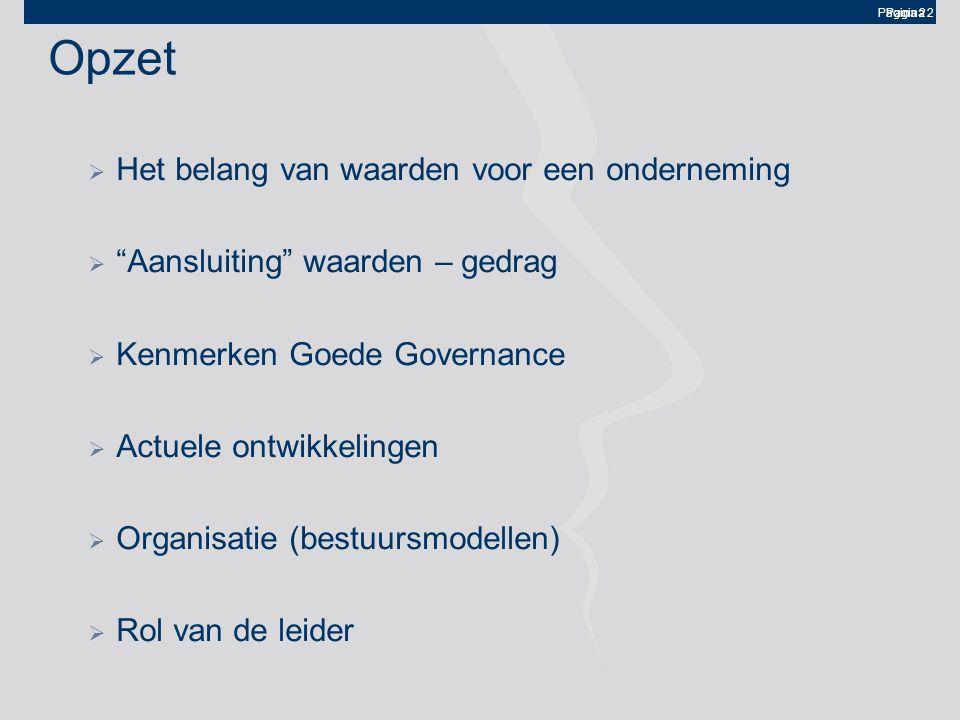 Pagina 2 Opzet  Het belang van waarden voor een onderneming  Aansluiting waarden – gedrag  Kenmerken Goede Governance  Actuele ontwikkelingen  Organisatie (bestuursmodellen)  Rol van de leider