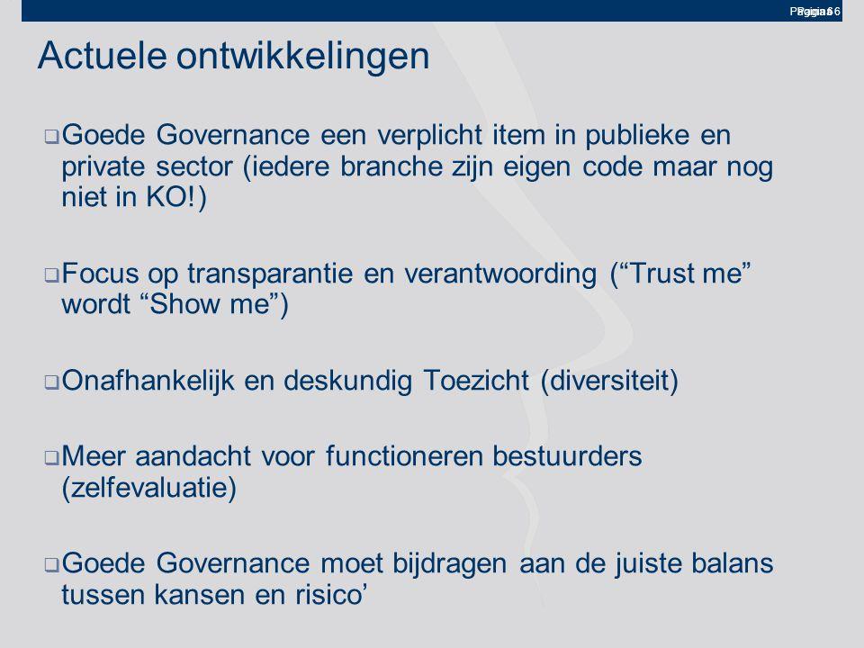 Pagina 6 Actuele ontwikkelingen  Goede Governance een verplicht item in publieke en private sector (iedere branche zijn eigen code maar nog niet in K