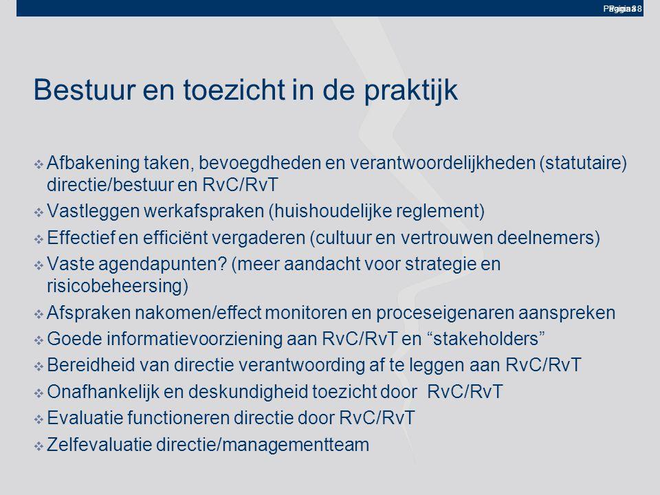 Pagina 8 Bestuur en toezicht in de praktijk  Afbakening taken, bevoegdheden en verantwoordelijkheden (statutaire) directie/bestuur en RvC/RvT  Vastleggen werkafspraken (huishoudelijke reglement)  Effectief en efficiënt vergaderen (cultuur en vertrouwen deelnemers)  Vaste agendapunten.