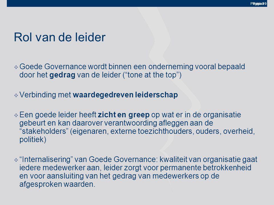 """Pagina 9 Rol van de leider  Goede Governance wordt binnen een onderneming vooral bepaald door het gedrag van de leider (""""tone at the top"""")  Verbindi"""