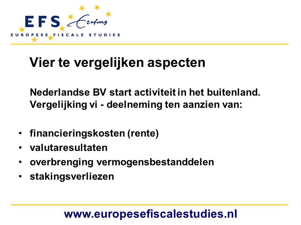 Vier te vergelijken aspecten www.europesefiscalestudies.nl Nederlandse BV start activiteit in het buitenland. Vergelijking vi - deelneming ten aanzien