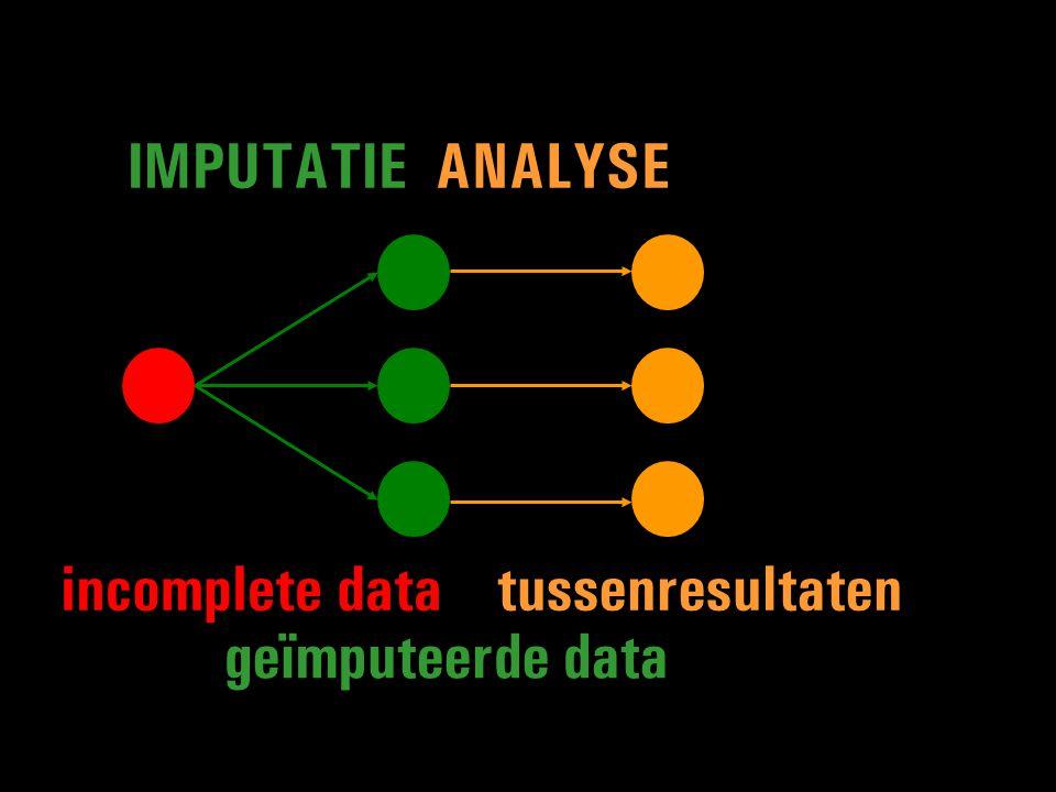 geïmputeerde data tussenresultaten IMPUTATIEANALYSE incomplete data