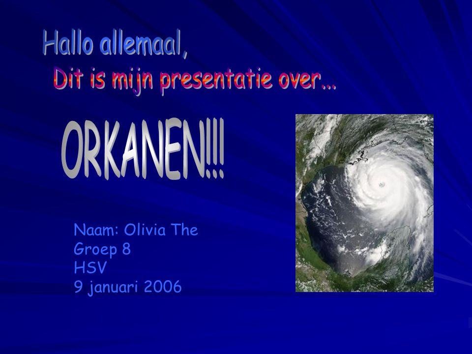 De Aandachtspunten Punt 1 : Wat zijn orkanen Punt 2 : De wind Punt 3 : Hoe ontstaan orkanen Punt 4 : De kenmerken van orkanen Punt 5 : Waar komen orkanen voor Punt 6 : Voorbeelden van orkanen En tot slot: Vragen of jullie goed hebben opgelet.