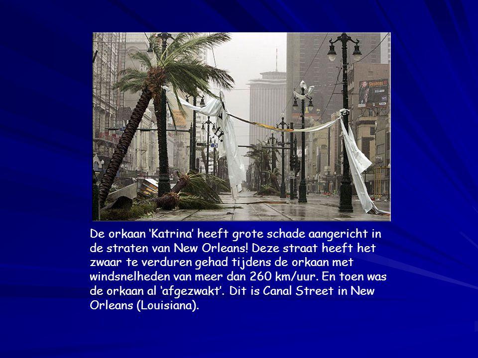 De orkaan 'Katrina' heeft grote schade aangericht in de straten van New Orleans! Deze straat heeft het zwaar te verduren gehad tijdens de orkaan met w