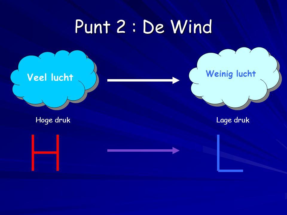 Weinig lucht Veel lucht Hoge drukLage druk Punt 2 : De Wind