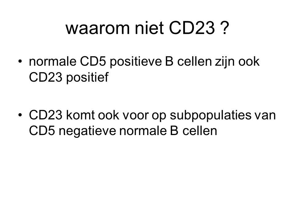 waarom niet CD23 ? normale CD5 positieve B cellen zijn ook CD23 positief CD23 komt ook voor op subpopulaties van CD5 negatieve normale B cellen