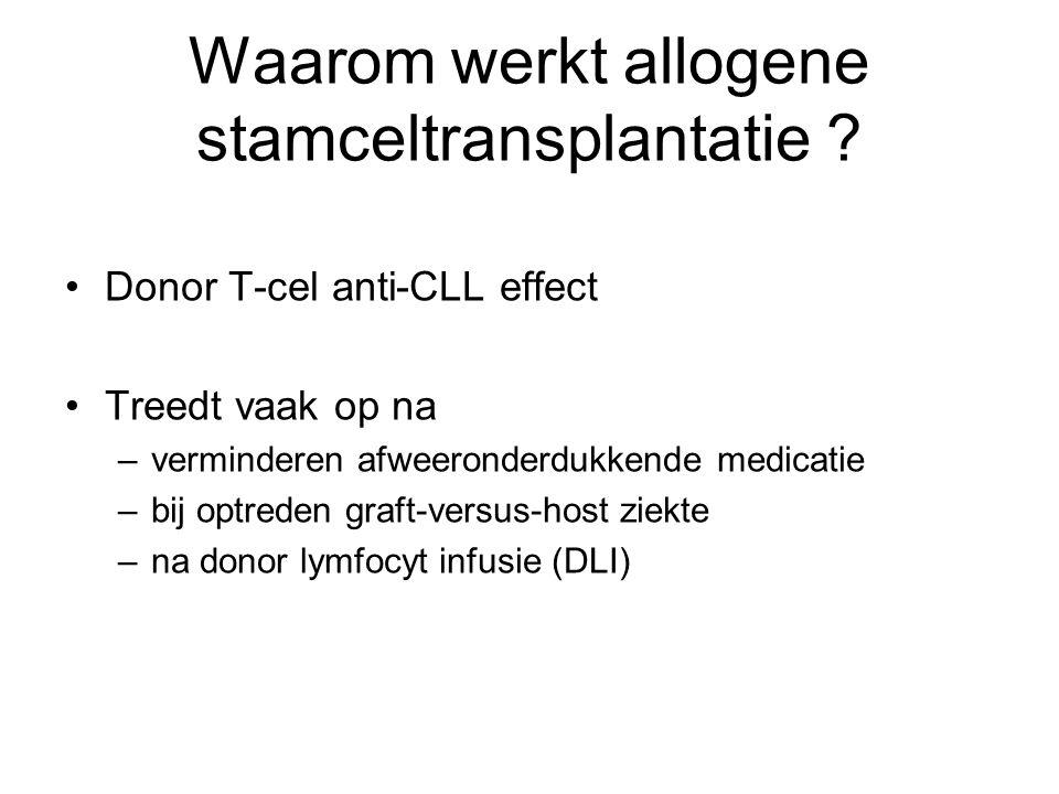 Waarom werkt allogene stamceltransplantatie ? Donor T-cel anti-CLL effect Treedt vaak op na –verminderen afweeronderdukkende medicatie –bij optreden g