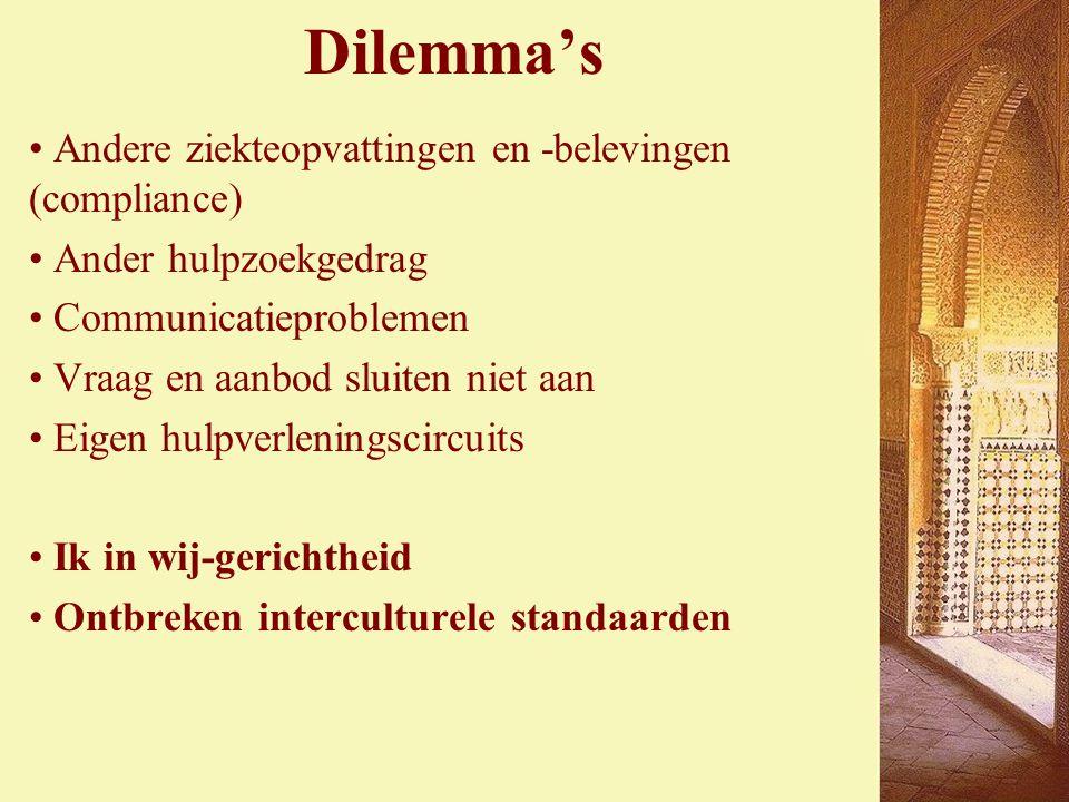 Dilemma's Andere ziekteopvattingen en -belevingen (compliance) Ander hulpzoekgedrag Communicatieproblemen Vraag en aanbod sluiten niet aan Eigen hulpverleningscircuits Ik in wij-gerichtheid Ontbreken interculturele standaarden