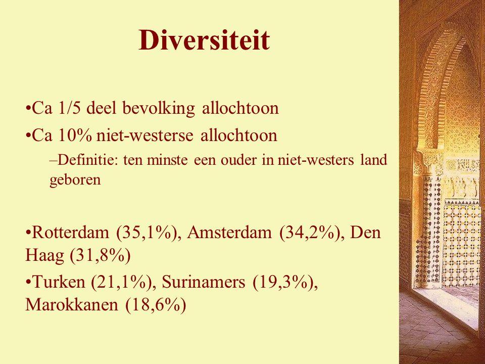 Diversiteit Ca 1/5 deel bevolking allochtoon Ca 10% niet-westerse allochtoon –Definitie: ten minste een ouder in niet-westers land geboren Rotterdam (35,1%), Amsterdam (34,2%), Den Haag (31,8%) Turken (21,1%), Surinamers (19,3%), Marokkanen (18,6%)