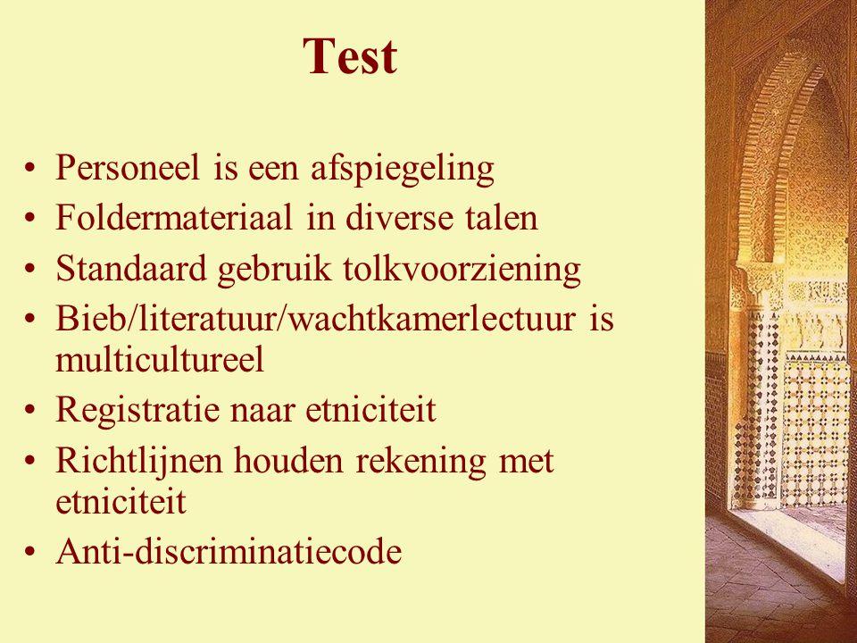 Test Personeel is een afspiegeling Foldermateriaal in diverse talen Standaard gebruik tolkvoorziening Bieb/literatuur/wachtkamerlectuur is multicultureel Registratie naar etniciteit Richtlijnen houden rekening met etniciteit Anti-discriminatiecode