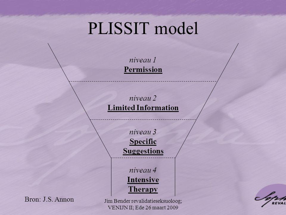 niveau 1 Permission niveau 2 Limited Information niveau 3 Specific Suggestions niveau 4 Intensive Therapy PLISSIT model Bron: J.S. Annon Jim Bender re