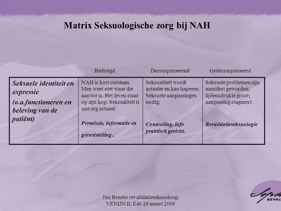 Matrix Seksuologische zorg bij NAH Seksuele identiteit en expressie (o.a.functioneren en beleving van de patiënt) NAH is kort ontstaan. Men weet niet