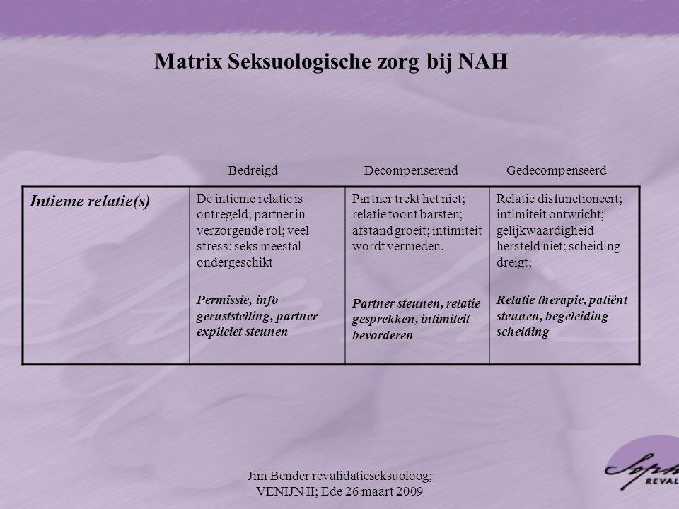 Matrix Seksuologische zorg bij NAH Intieme relatie(s) De intieme relatie is ontregeld; partner in verzorgende rol; veel stress; seks meestal ondergesc