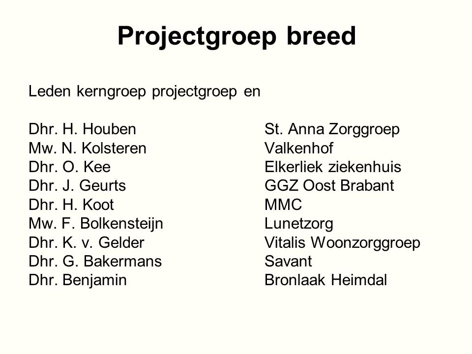 Projectgroep breed Leden kerngroep projectgroep en Dhr.