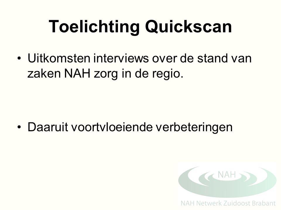 Toelichting Quickscan Uitkomsten interviews over de stand van zaken NAH zorg in de regio. Daaruit voortvloeiende verbeteringen