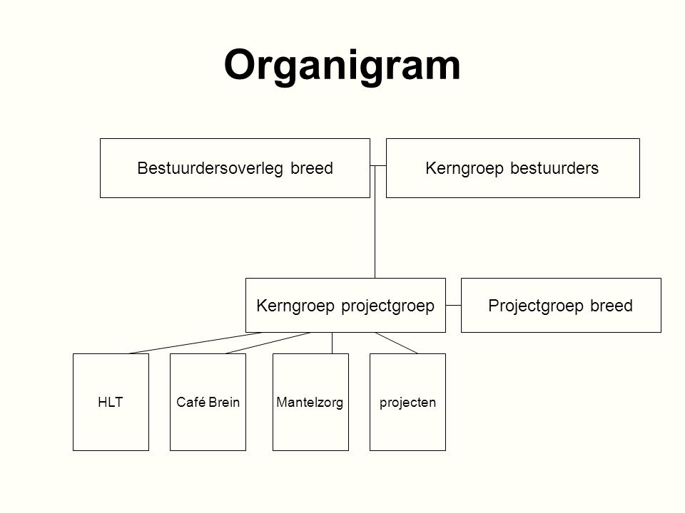 Organigram Bestuurdersoverleg breed Kerngroep bestuurders Kerngroep projectgroep Projectgroep breed HLTCafé BreinMantelzorgprojecten