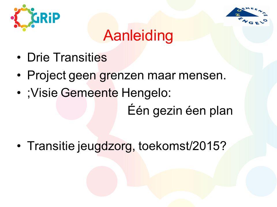 Aanleiding Drie Transities Project geen grenzen maar mensen. ;Visie Gemeente Hengelo: Één gezin éen plan Transitie jeugdzorg, toekomst/2015?