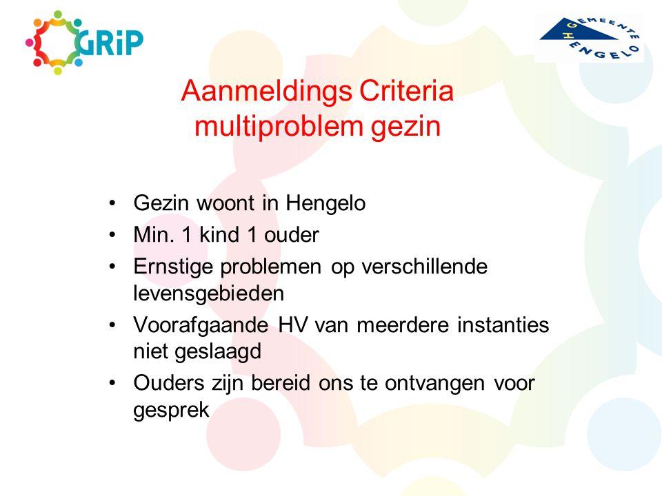 Aanmeldings Criteria multiproblem gezin Gezin woont in Hengelo Min. 1 kind 1 ouder Ernstige problemen op verschillende levensgebieden Voorafgaande HV