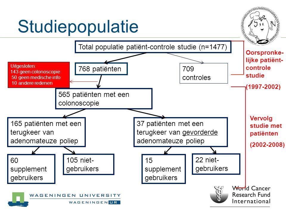Studiepopulatie Total populatie patiënt-controle studie (n=1477) 768 patiënten 709 controles 565 patiënten met een colonoscopie 165 patiënten met een
