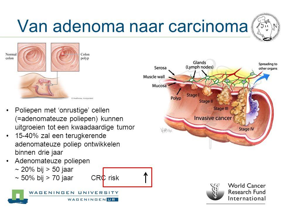 Van adenoma naar carcinoma Poliepen met 'onrustige' cellen (=adenomateuze poliepen) kunnen uitgroeien tot een kwaadaardige tumor 15-40% zal een terugk