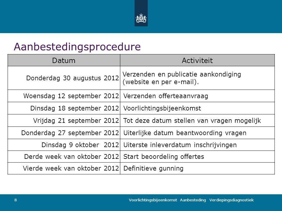 Voorlichtingsbijeenkomst Aanbesteding Verdiepingsdiagnostiek Aanbestedingsprocedure 8 DatumActiviteit Donderdag 30 augustus 2012 Verzenden en publicatie aankondiging (website en per e-mail).