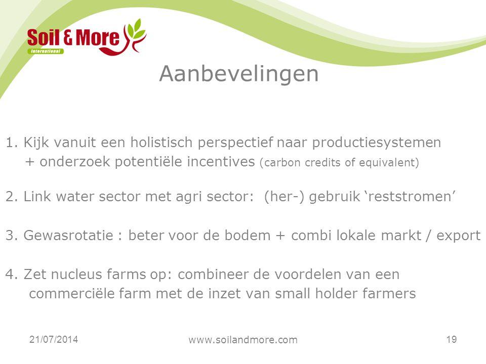 Aanbevelingen 21/07/2014 www.soilandmore.com 19 1. Kijk vanuit een holistisch perspectief naar productiesystemen + onderzoek potentiële incentives (ca