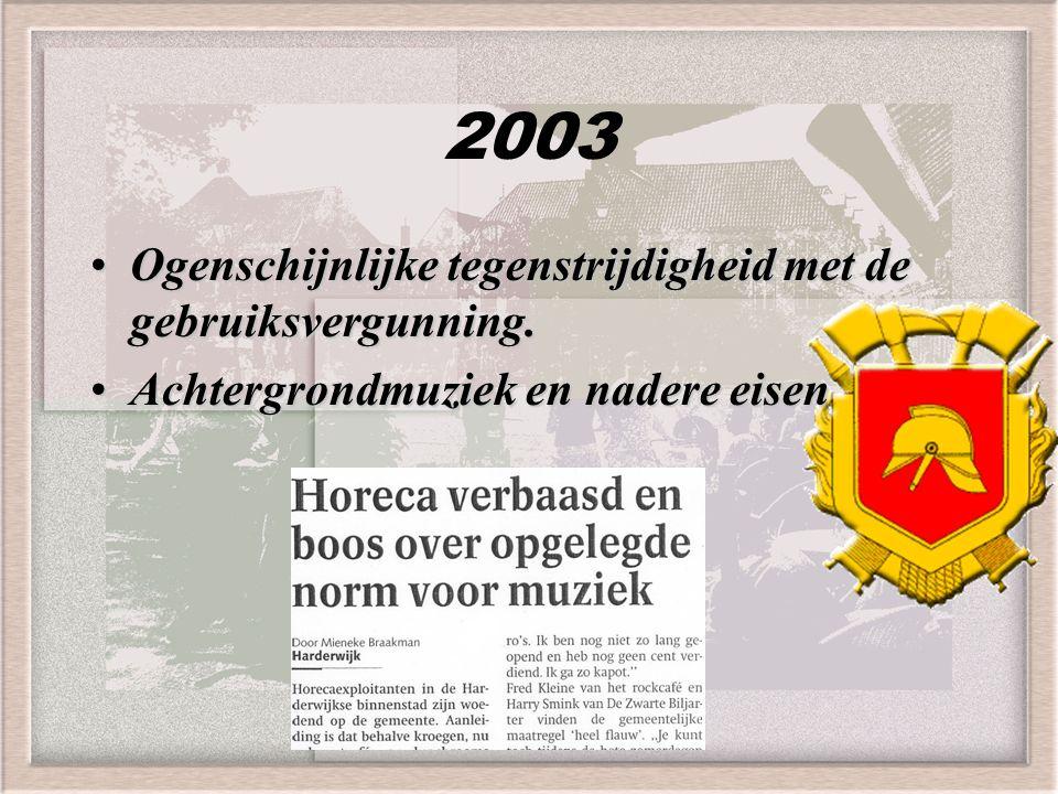 2003 Ogenschijnlijke tegenstrijdigheid met de gebruiksvergunning.Ogenschijnlijke tegenstrijdigheid met de gebruiksvergunning. Achtergrondmuziek en nad