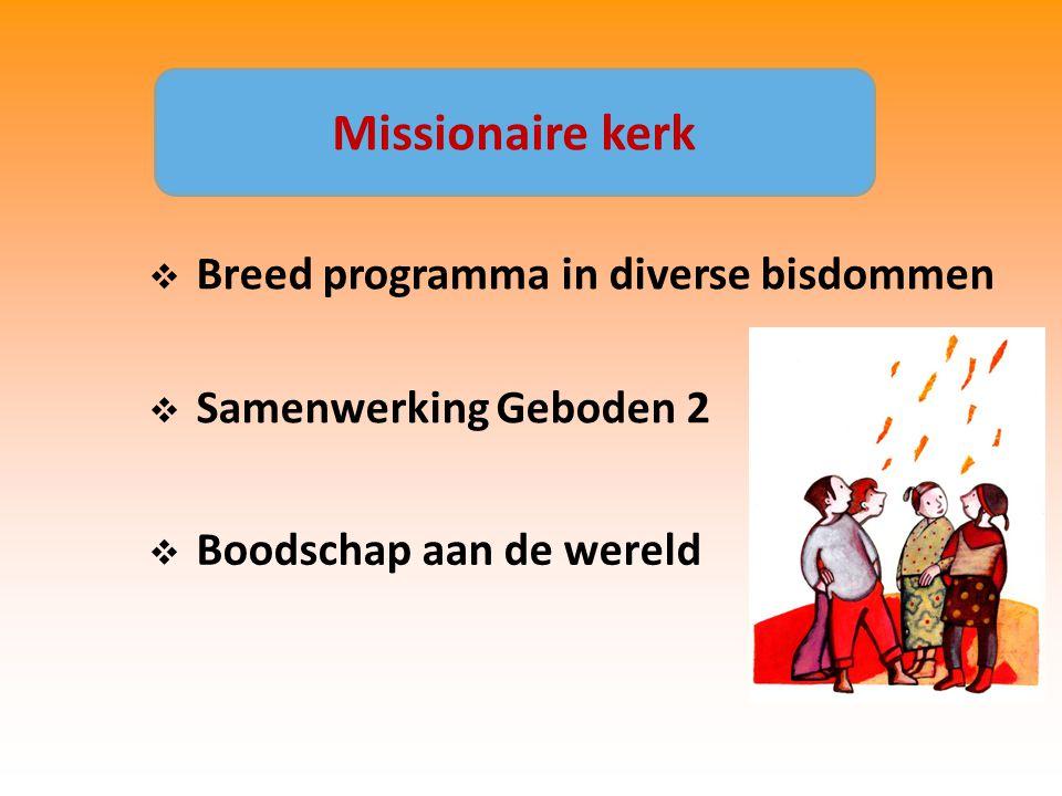  Breed programma in diverse bisdommen  Samenwerking Geboden 2  Boodschap aan de wereld Missionaire kerk