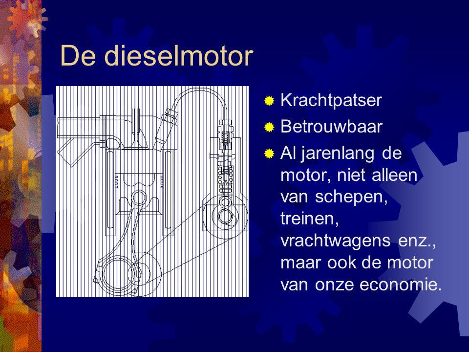 De dieselmotor  Krachtpatser  Betrouwbaar  Al jarenlang de motor, niet alleen van schepen, treinen, vrachtwagens enz., maar ook de motor van onze e