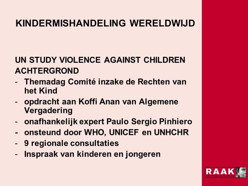 KINDERMISHANDELING WERELDWIJD UN STUDY VIOLENCE AGAINST CHILDREN ACHTERGROND -Themadag Comité inzake de Rechten van het Kind -opdracht aan Koffi Anan van Algemene Vergadering -onafhankelijk expert Paulo Sergio Pinhiero -onsteund door WHO, UNICEF en UNHCHR -9 regionale consultaties -Inspraak van kinderen en jongeren