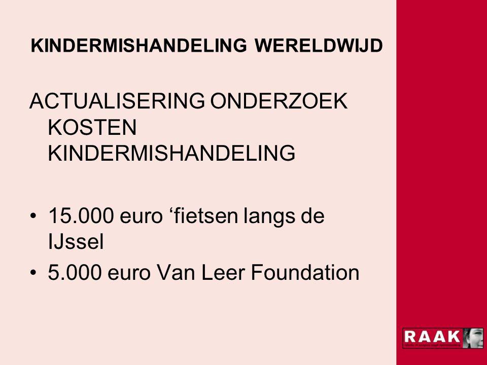 KINDERMISHANDELING WERELDWIJD ACTUALISERING ONDERZOEK KOSTEN KINDERMISHANDELING 15.000 euro 'fietsen langs de IJssel 5.000 euro Van Leer Foundation
