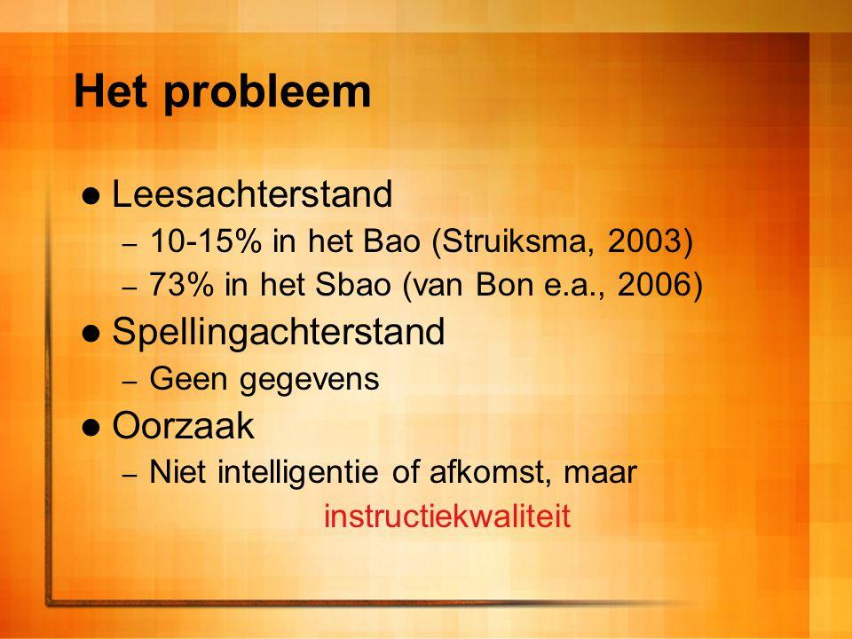Het probleem Leesachterstand – 10-15% in het Bao (Struiksma, 2003) – 73% in het Sbao (van Bon e.a., 2006) Spellingachterstand – Geen gegevens Oorzaak