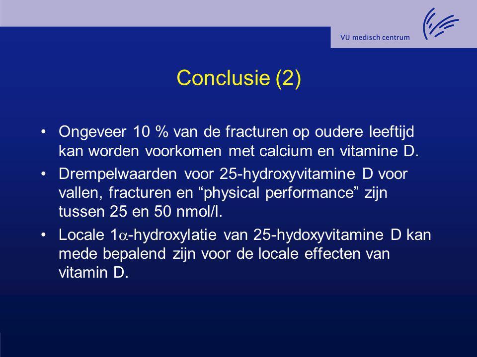 Conclusie (2) Ongeveer 10 % van de fracturen op oudere leeftijd kan worden voorkomen met calcium en vitamine D. Drempelwaarden voor 25-hydroxyvitamine