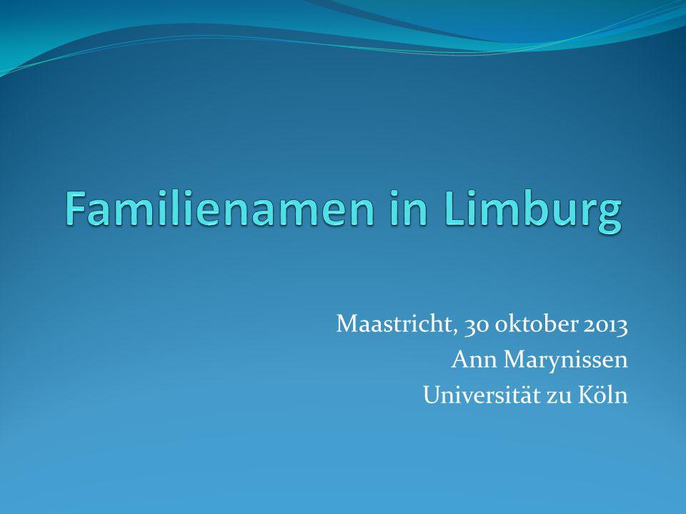 top-20 Limburgse familienamen Belgisch-Limburg (1987) 1.