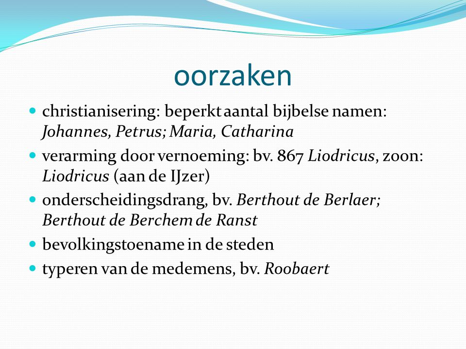 de verspreiding van familienamen is regionaal bepaald: structureel verschillende types per regio prototypische Limburgse familienamen: courantste types: lexicaal/grammaticaal